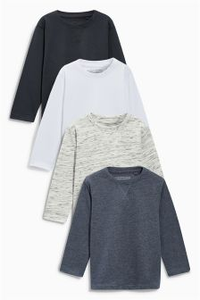 Grey/Black/White Plain Long Sleeve T-Shirts Four Pack (3mths-6yrs)
