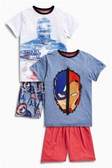 Multi Captain America Short Pyjamas Two Pack (3-12mths)