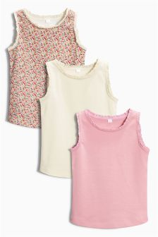 Ditsy, Ecru And Pink Vests Three Pack (3mths-6yrs)