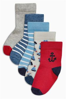Red/Blue Character  Socks Five Pack (Younger Boys)