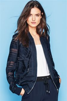 Navy Striped Bomber Jacket