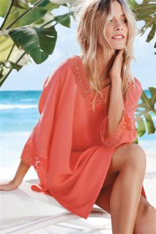 Coral Lace Cover-Up