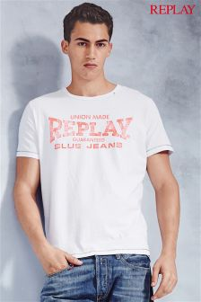 White Replay® Contrast Neon Logo T-Shirt