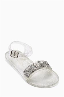 Silver Two Part Jelly Shoes (Older Girls)