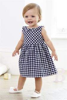 Navy/White Gingham Dress (0mths-2yrs)