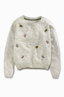 Grey Marl Beaded Bug Cardigan (3-16yrs)