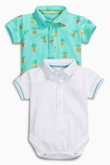 White/Aqua Pineapple Polo Shirt Body Two Pack (0mths-2yrs)