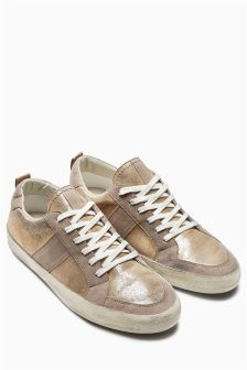 Metallic Distressed Lace-Ups
