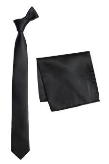 Black Textured Tie And Pocket Square Set