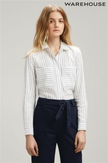 White Warehouse Concealed Placket Stripe Shirt