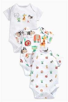 Bright Animals Short Sleeve Bodysuits Three Pack (0mths-2yrs)