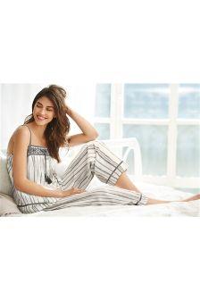 Grey Stripe Woven Cotton Pyjamas