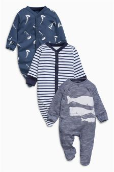 Navy/White Whale Sleepsuits Three Pack (0mths-2yrs)