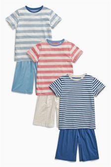 Blue Stripe Short Pyjamas Three Pack (3-16mths)