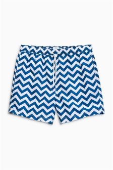 Blue/White Chevron Print Swim Shorts