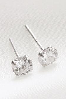 Silver Sterling Silver Cubic Zirconia Stud Earrings