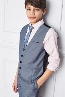 Blue Chambray Waistcoat, Shirt And Tie Set (12mths-16yrs)