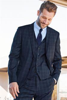 Blue Check Slim Fit Suit: Jacket