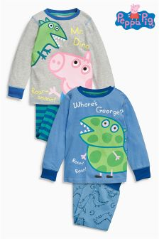 Two Pack George Pig Drop Crotch Pyjamas (18mths-6yrs)