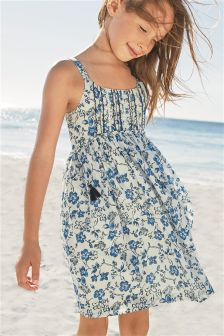 Blue Floral Print Dress (3-16yrs)