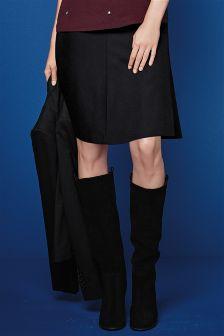Black Textured Fluted Skirt