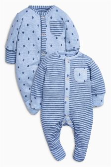 Blue Sleepsuits Two Pack (0mths-2yrs)