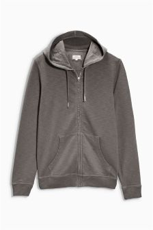 Washed Zip Through Hoody