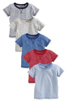 Multi Short Sleeve Essentials Tops Five Pack (3mths-6yrs)