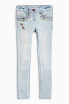 Denim Mid Blue Butterfly Embellished Jeans (3-16yrs)