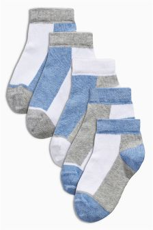 Blue Trainer Socks Five Pack (Younger Boys)