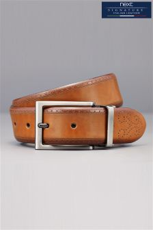 Black & Tan Signature Italian Leather Reversible Brogue Detail Belt