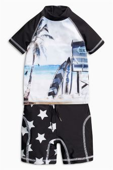 Black & White Star Sunsafe Two Piece Set (3mths-6yrs)