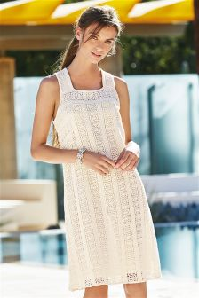 Cream Lace Pinafore Dress