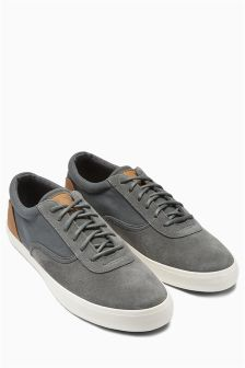 Canvas And Suede Sport Lace-Up