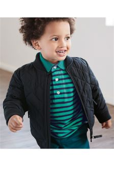 Navy Quilted Bomber Jacket (3mths-6yrs)