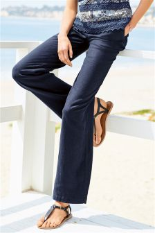 Parallel Leg Linen Blend Trousers