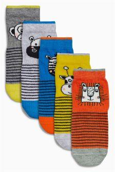 Multi Animal Stripe Socks Five Pack (Younger Boys)