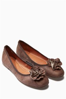 Leather Flower Ballerinas