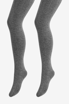 Grey Knitted Tights Two Pack