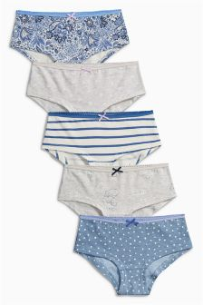 Blue Paisley Print Hipster Briefs 5 Pack (3-16yrs)
