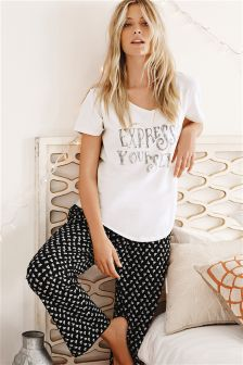 Monochrome Slogan Pyjamas