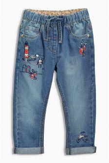 Denim Mid Blue Embellished Jeans (3mths-6yrs)