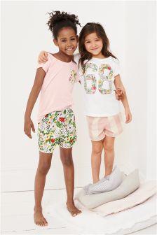 Pink/White Short Pyjamas Two Pack (3-16yrs)