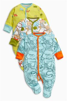 Green Safari All-Over Print Sleepsuits Three Pack (0mths-2yrs)