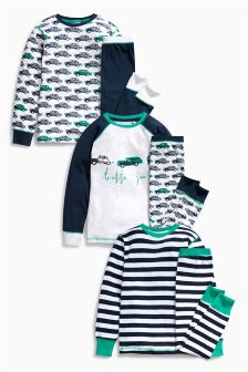 Multi Retro Car Pyjamas Three Pack (9mths-8yrs)