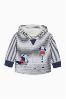 Ecru/Navy Stripe Dog Hoody (3mths-6yrs)