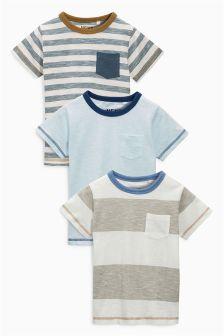 Blue Short Sleeve Stripe T-Shirts Three Pack (3mths-6yrs)