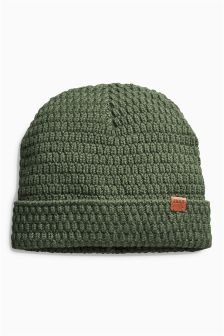 Khaki Knitted Slouch Beanie (Older Boys)