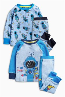 Blue I Am Spaceman Pyjamas Two Pack (9mths-8yrs)