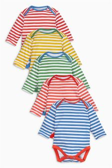 Multi Stripe Long Sleeve Bodysuits Five Pack (0mths-2yrs)